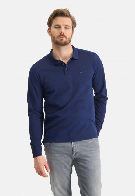 Polo-made-of-mercerized-cotton---dark-brown/cobalt