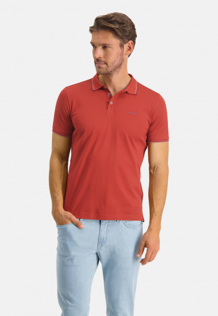 Polo-with-regular-fit-and-brandlogo---brick-plain
