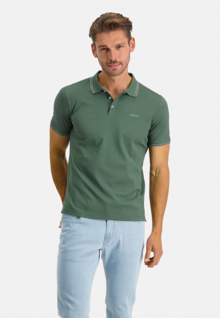 Polo-with-regular-fit-and-brandlogo---dark-green-plain