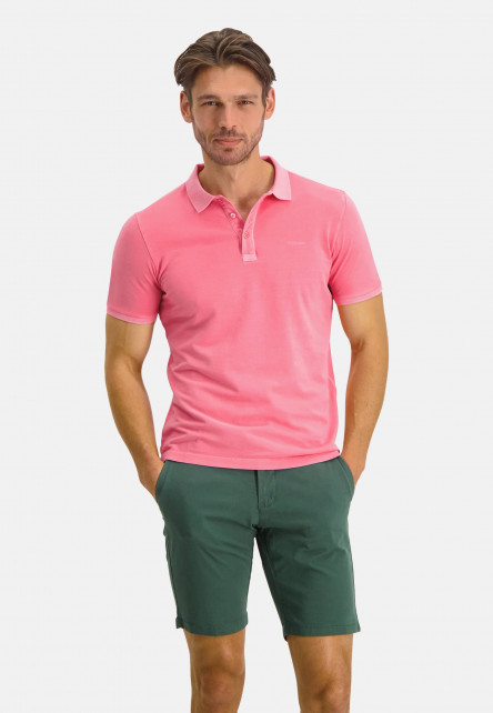 Polo-with-modern-fit-and-short-sleeve---pink-plain