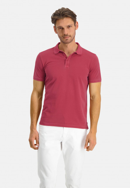 Polo-with-modern-fit-and-short-sleeve---wine-red-plain