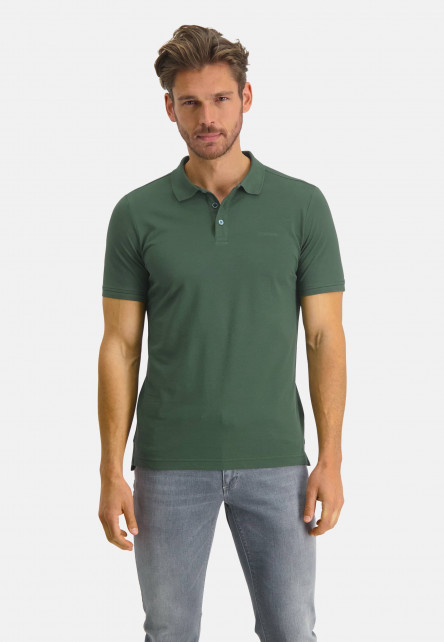 Pique-polo-with-regular-fit---dark-green-plain