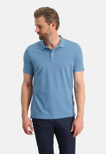 Pique-polo-with-regular-fit---grey-blue-plain