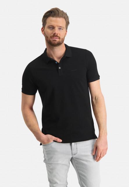 Pique-polo-with-regular-fit---black-plain
