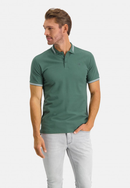 Polo-with-regular-fit-and-chest-logo---dark-green-plain