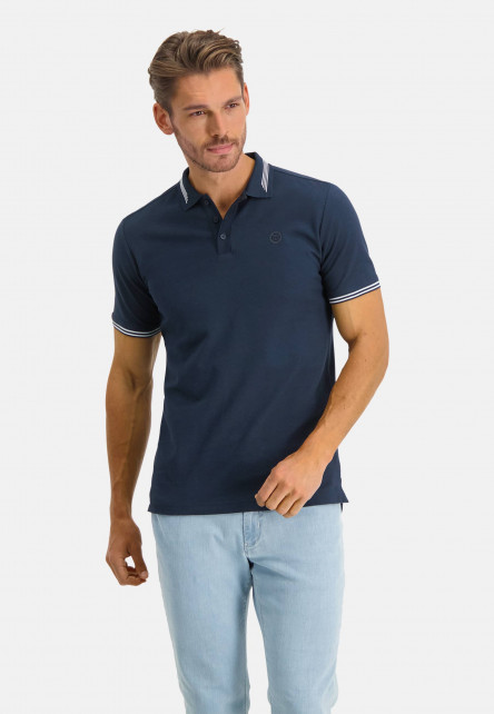 Polo-with-regular-fit-and-chest-logo---dark-blue-plain