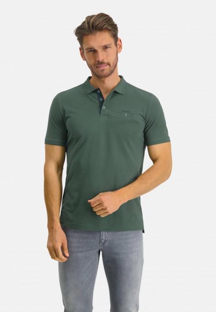Polo-made-of-Pima-coton---dark-green-plain
