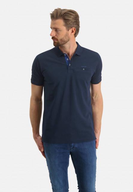 Polo-made-of-Pima-coton---dark-blue-plain
