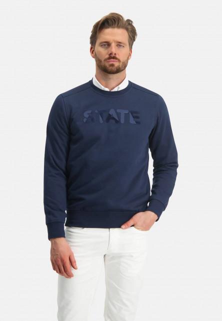 Sweatshirt-with-an-artwork---dark-blue-plain