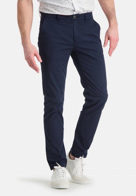 Chino-of-stretch-cotton---dark-blue-plain