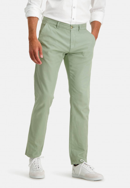 Stretch-chinos-made-of-a-linen-blend---leafgreen-plain
