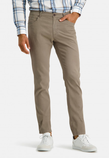 Corduroy-trousers-with-stretch---greenbrown-plain