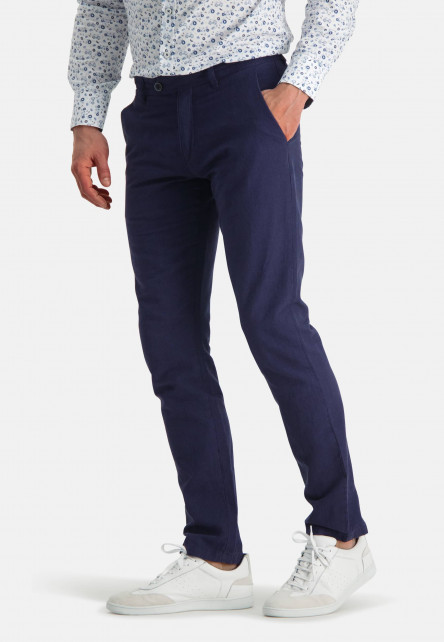 Printed-chino-with-modern-fit---dark-blue-plain