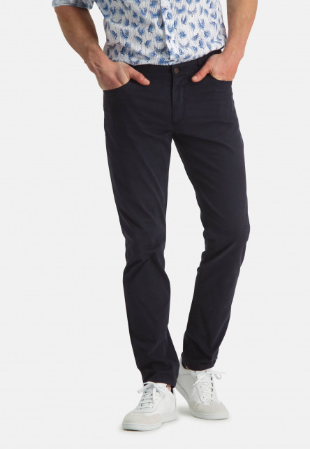 Stretchy-trousers-with-regular-fit---dark-blue-plain
