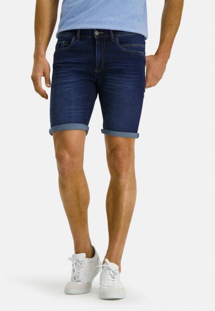 Stretch-short-of-a-cotton-blend---navy-plain