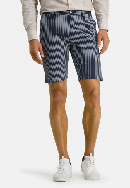 Short-with-stripes-made-of-stretch-cotton---dark-blue/white