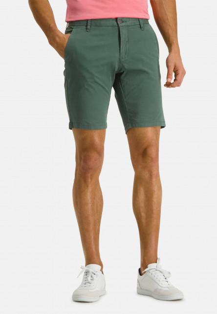 Printed-shorts-made-of-stretch-cotton---dark-green-plain