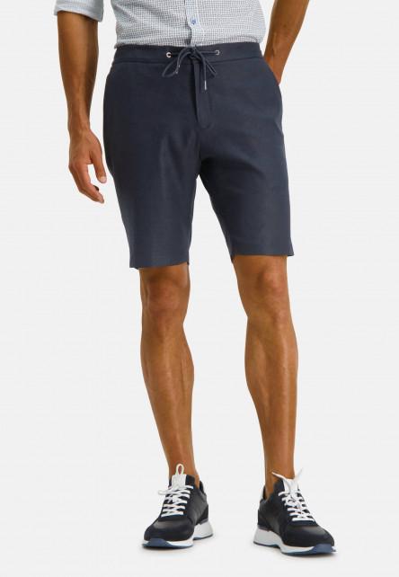 Modern-Classics-stretch-shorts-of-a-linen-blend---dark-blue-plain