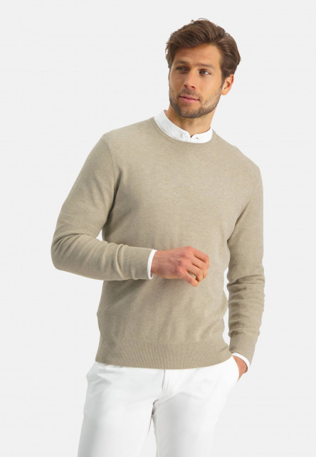 Modern-Classics-jumper-of-a-pima-cotton-blend---sand-plain