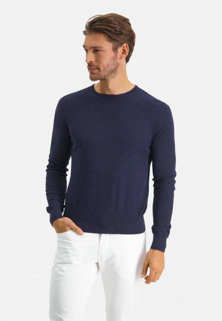 Modern-Classics-jumper-of-a-pima-cotton-blend---dark-blue-plain