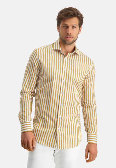 Modern-Classics-shirt-with-stripes---ochre/white