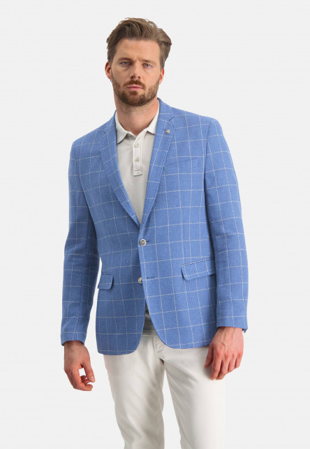 Checked-blazer-with-flap-pockets---cobalt/white