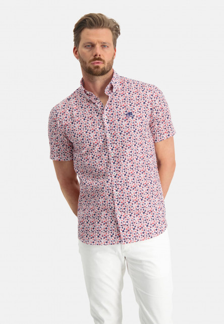 Cotton-shirt-with-stretch-and-short-sleeve