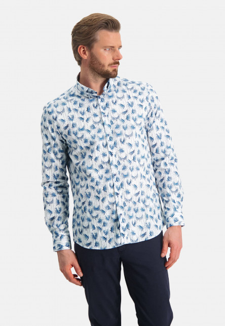 Hemd,-Button-Down,-Vogeldruck