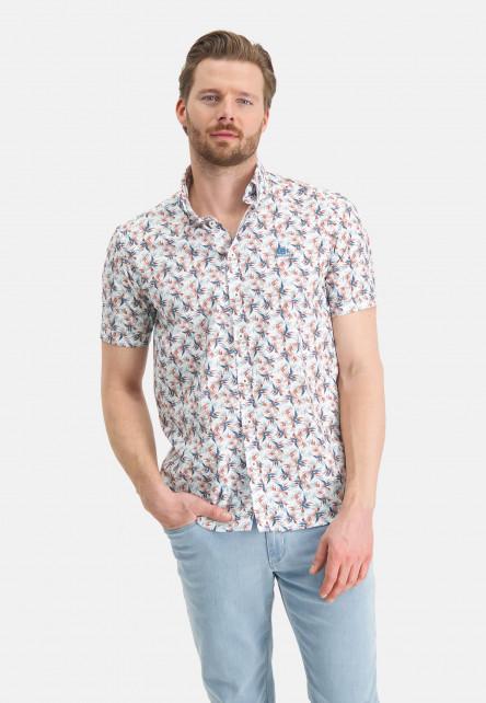 Hemd,-Blumendruck,-kurzarm