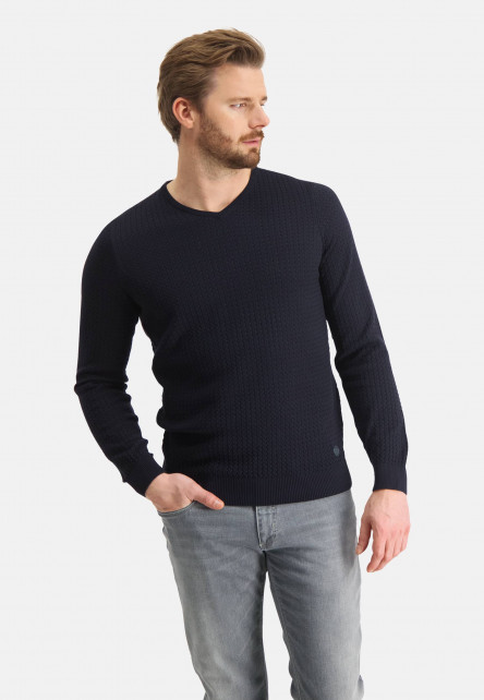 Jumper-with-V-neck-of-blended-cotton