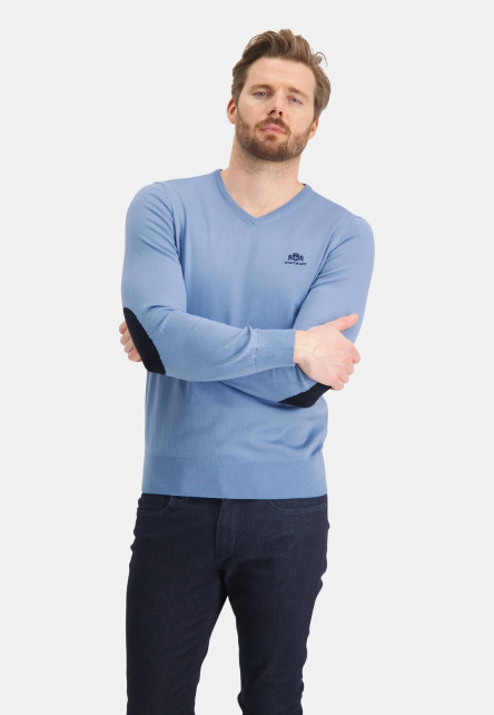 Pullover,-V-Ausschnitt,-uni,-Ellebogenflecken