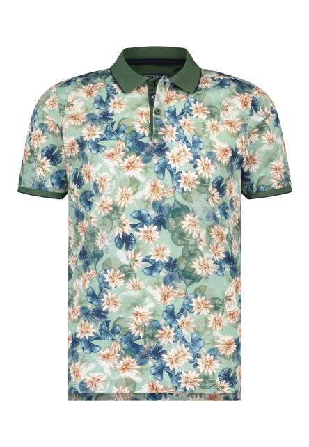 Poloshirt,-Digital-Blumendruck