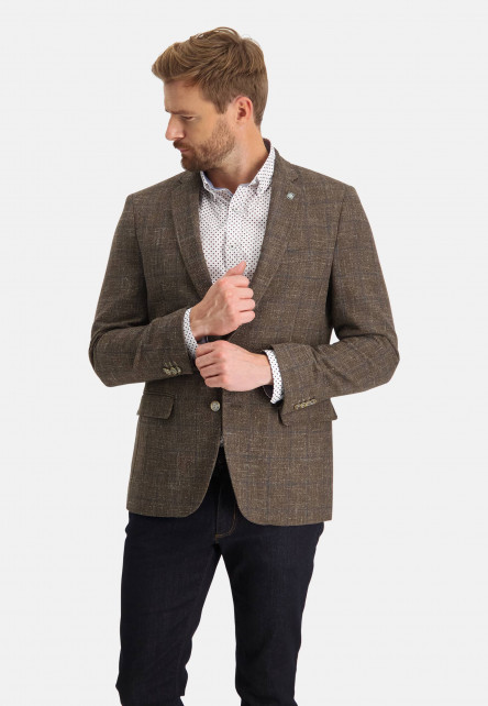 Checked-blazer-with-a-label-pin