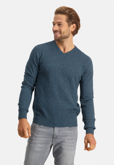 Cotton-pullover-with-V-neck