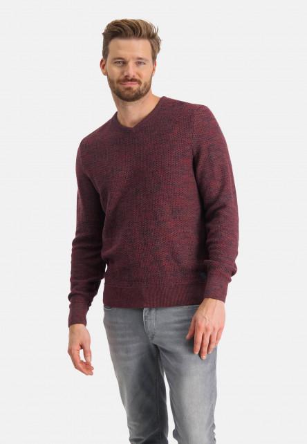 Pullover-mouliné-with-V-neck