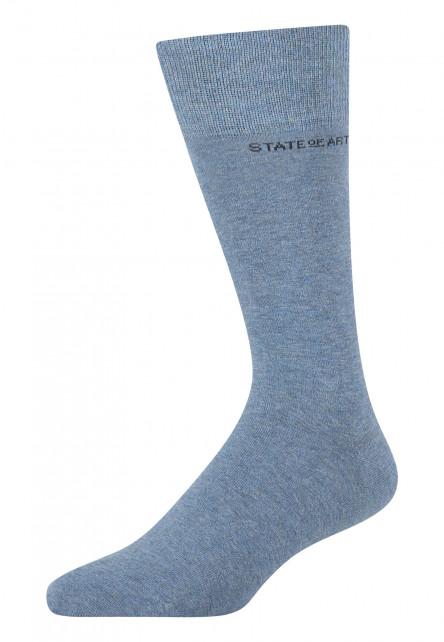 Socken,-uni,-Baumwoll-Mix---mittelblau-uni