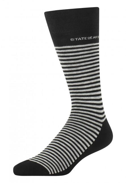 Socken,-Streifen,-Baumwoll-Mix---schwarz/silbergrau