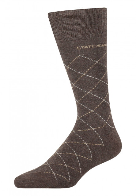 Socks-with-a-checked-pattern---dark-brown/cream