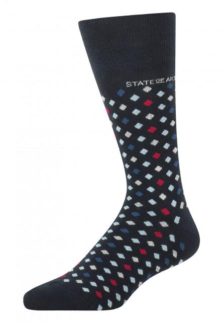 Socken,-Jacquard,-Markenlogo---dunkelblau/rot