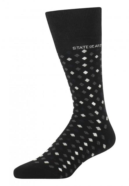 Socken,-Jacquard,-Markenlogo---schwarz/silbergrau
