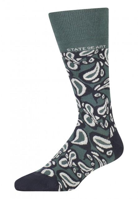 Socken,-Paisley-Print---dunkelgrün/dunkelblau