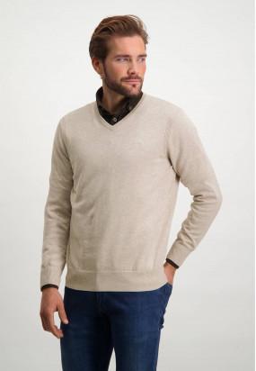 Pullover,-Bio-Baumwolle,-Brustlogo---sand-uni