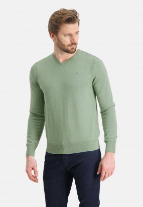 Pullover,-Bio-Baumwolle,-Brustlogo---blattgrün-uni