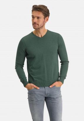 V-hals-trui-van-biologisch-katoen---donkergroen-uni