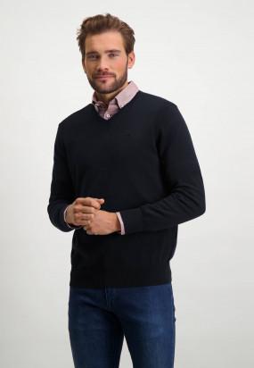 Pullover,-Bio-Baumwolle,-Brustlogo---dunkelblau-uni