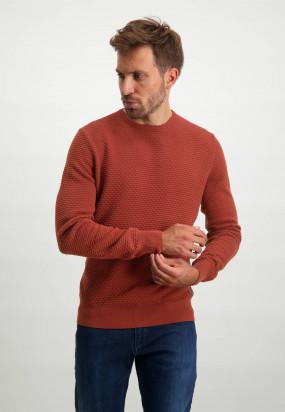 Round-neck-jumper-in-100%-cotton---brick-plain