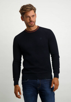 Cotton-jumper-with-logo-on-the-chest---dark-blue-plain