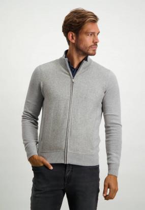 Cardigan-avec-dessin-sur-la-manche---gris-argenté-monochrome