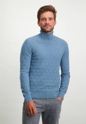 Pull-col-roulé-100-%-coton---gris-bleu-uni