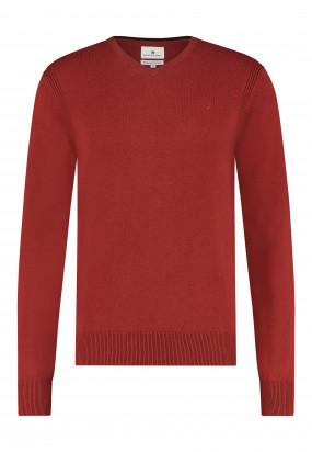 Pullover-mit-V-Ausschnitt-aus-Bio-Baumwolle---ziegel-uni
